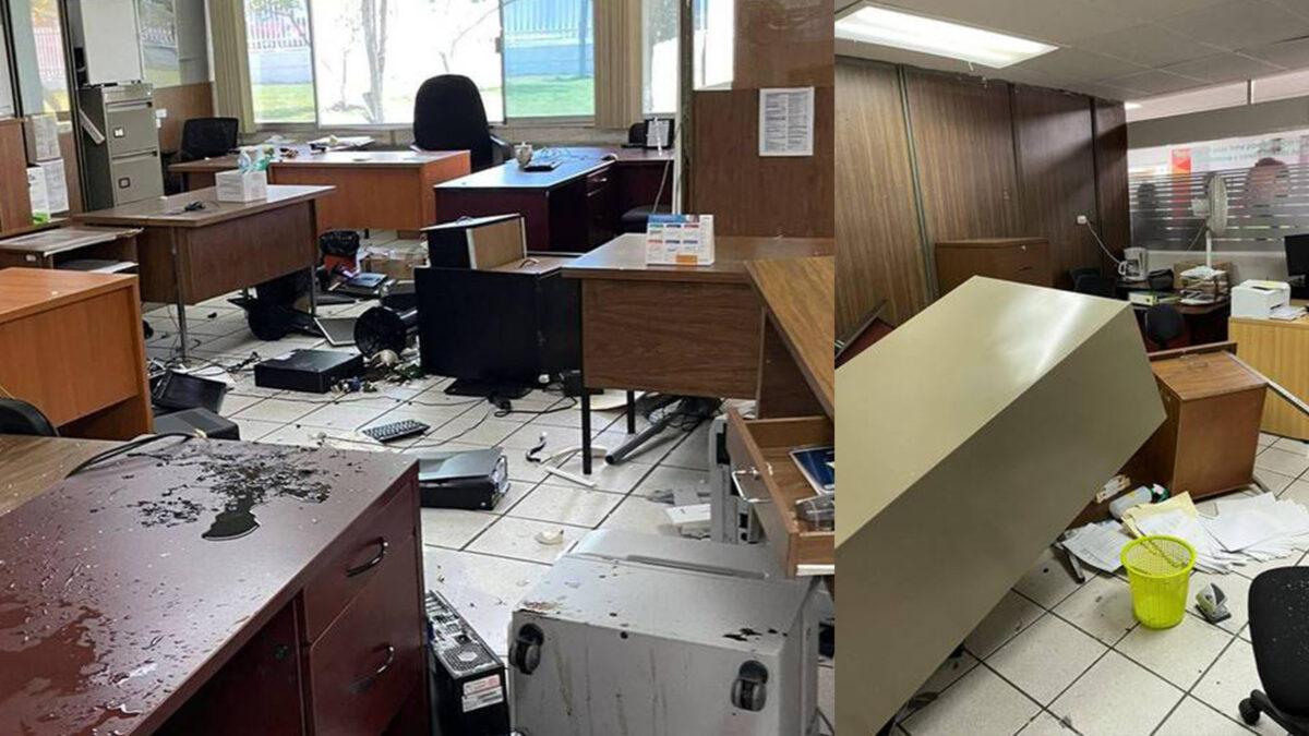 Vandalizan normalista de Michoacán oficina de SEE