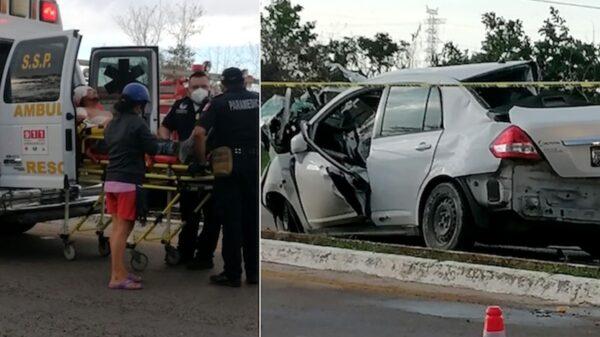 Fuerte accidente automovilístico en la vía Muna-Ticul deja ocho lesionados