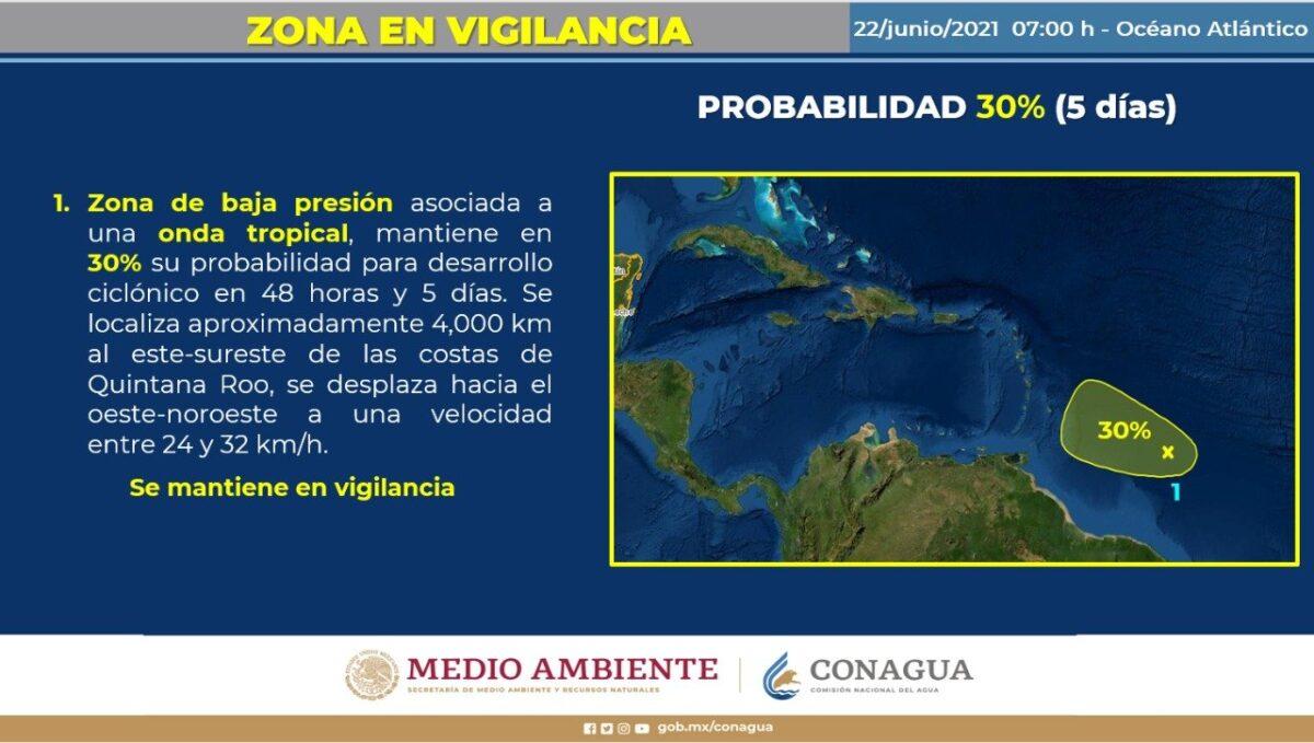 Clima: Lluvias aisladas y rachas de vientos en Quintana Roo; la onda tropical número 5 se aproximará hacia la Península de Yucatán.