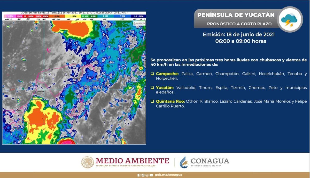Pronóstico del clima para hoy viernes 18 de junio en Quintana Roo; Cielo nublado la mayor parte del día, con lluvias puntuales.
