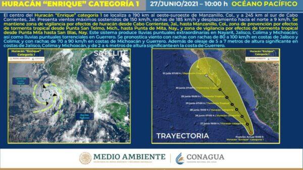 Clima: 'Enrique' podría convertirse en huracán categoría II este domingo.