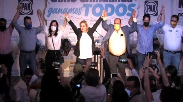 """La candidata Maru Campos Galván de la coalición PRD y PAN, """"Nos Une Chihuahua"""", anunció que los votos le dan una tendencia irreversible"""