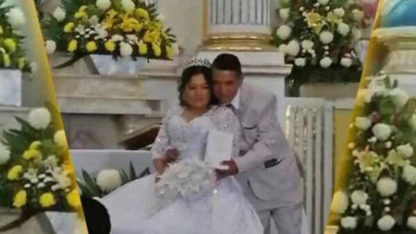 Novia termina casándose con un vestido y unas zapatillas prestadas, ya que el día que viajó para recoger su ajuar lo perdió