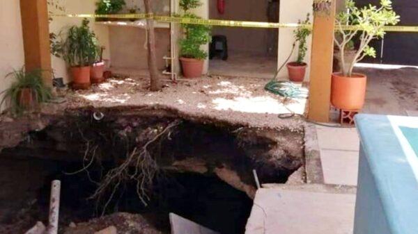 Reportan un socavón en una vivienda de la colonia Bojórquez de Mérida