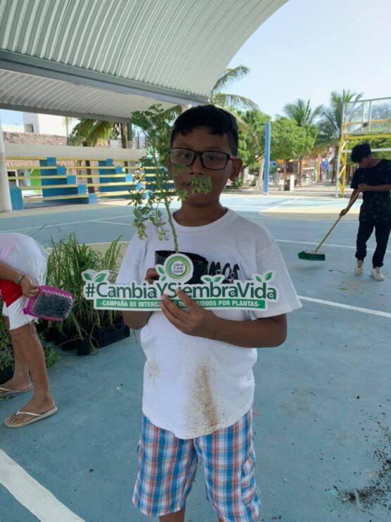 Realizan intercambio de reciclables por plantas en el domo de Holbox, la campaña verde es organizada por la AC Jáaal Káak Náab.