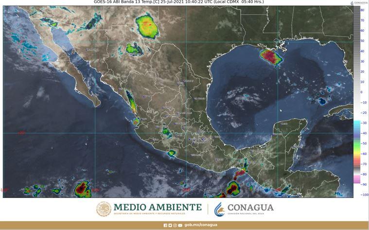 Pronóstico del tiempo para hoy domingo 25 de julio en Quintana Roo; cielo medio nublado por la tarde con chubascos y descargas eléctricas en la Península.