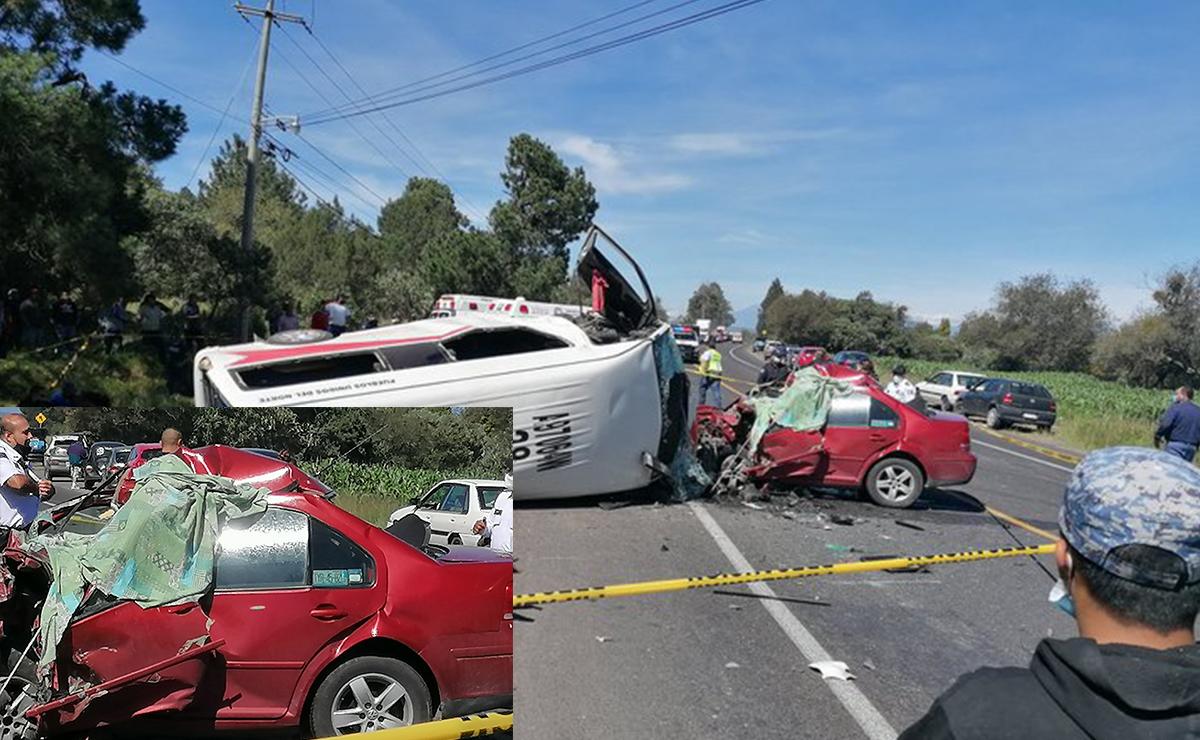 Terrible choque deja un muerto y ocho heridos, en Tlaxcala
