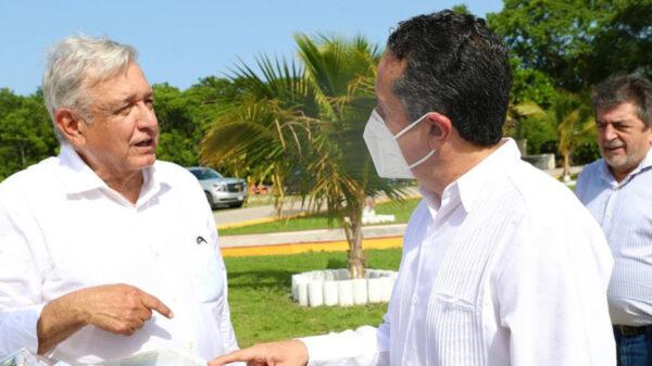 Supervisan AMLO y Carlos Joaquín obras del Tren Maya en Quintana Roo
