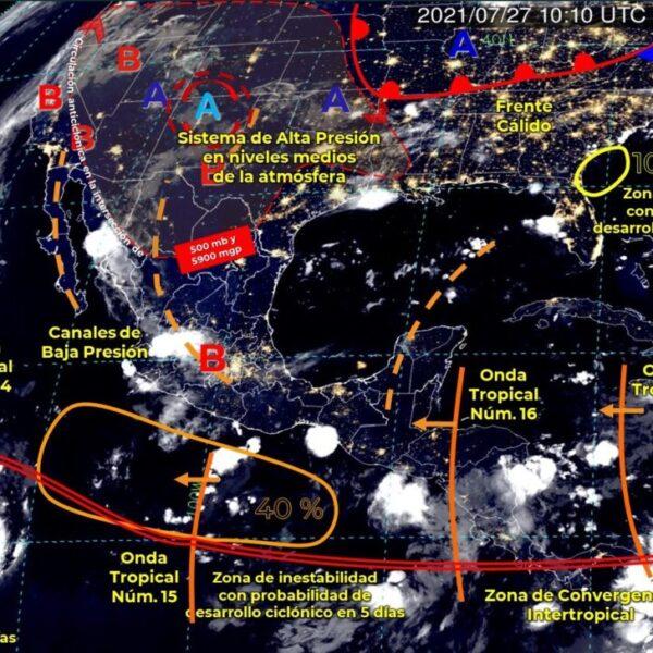 Pronóstico del clima para hoy martes 27 de Julio en Quintana Roo.