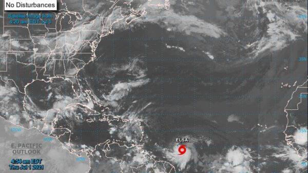#Clima: Se forma la tormenta tropical 'Elsa'; se esperan lluvias aisladas para Quintana Roo y el resto de la Península de Yucatán.