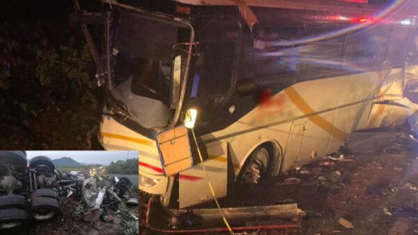 Choca tráiler con autobús de pasajeros; reportan 6 muertos