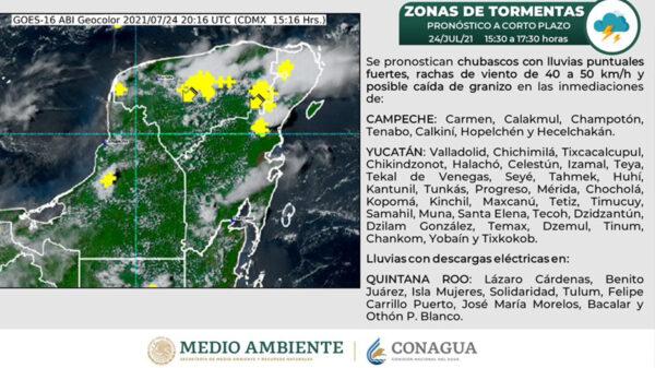 Pronostican sábado lluvioso y con descargas eléctricas para Cancún