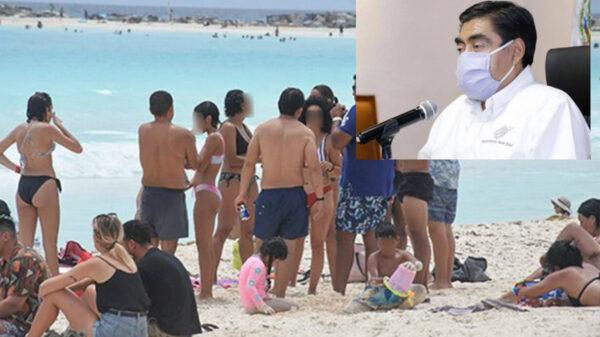 Nuevo contagio masivo de covid-19 de turistas en Cancún