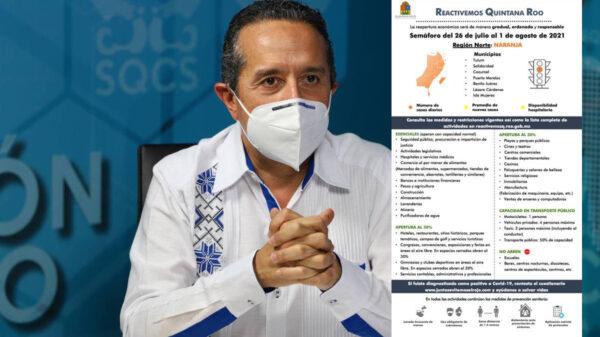 Pese a incremento en tasa de contagios, Quintana Roo permanece en naranja