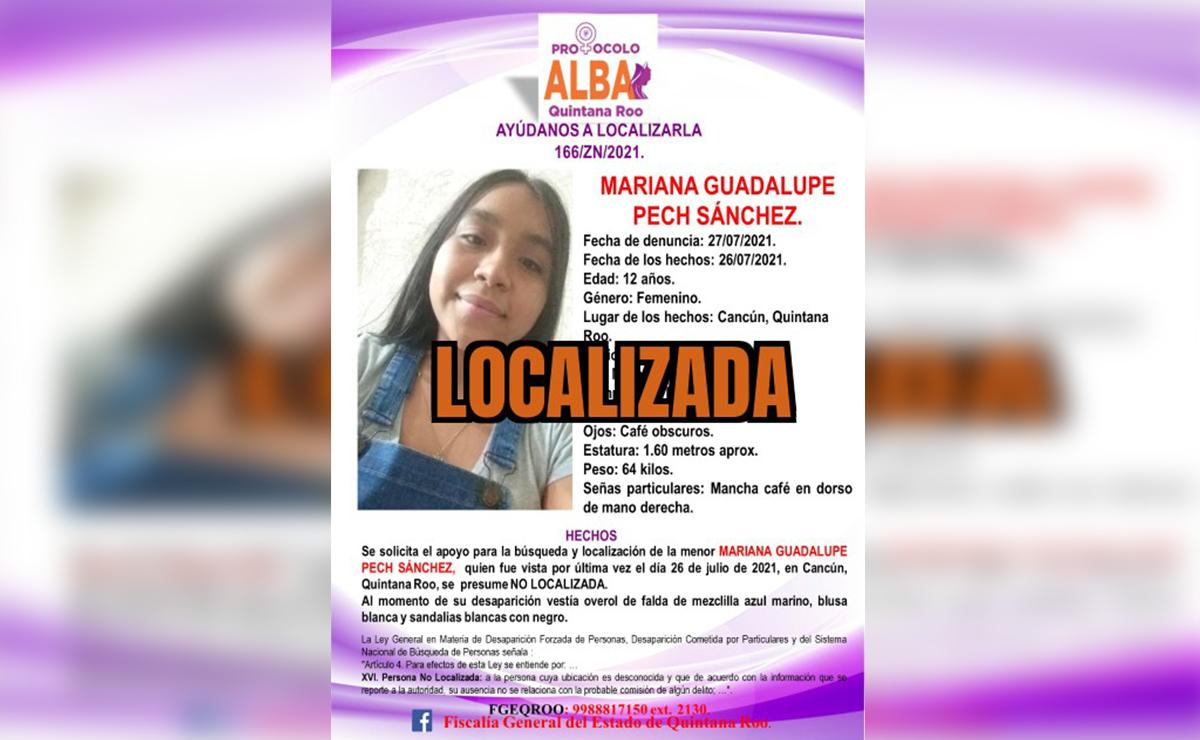 Localizan a Mariana, la niña de 12 años desaparecida en Villas del Mar