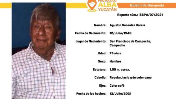 Activan Protocolo Alba para localizar a un adulto de la tercera edad extraviado en Kanasín