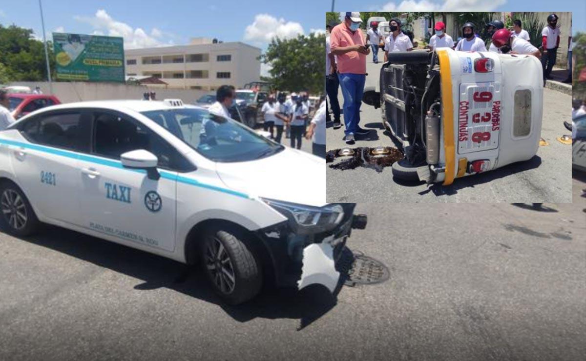 Imprudente taxista lesiona a menor al arrollar mototaxi en Playa del Carmen