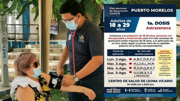 Vacunarán contra el covid a personas de 18 a 29 años en Puerto Morelos