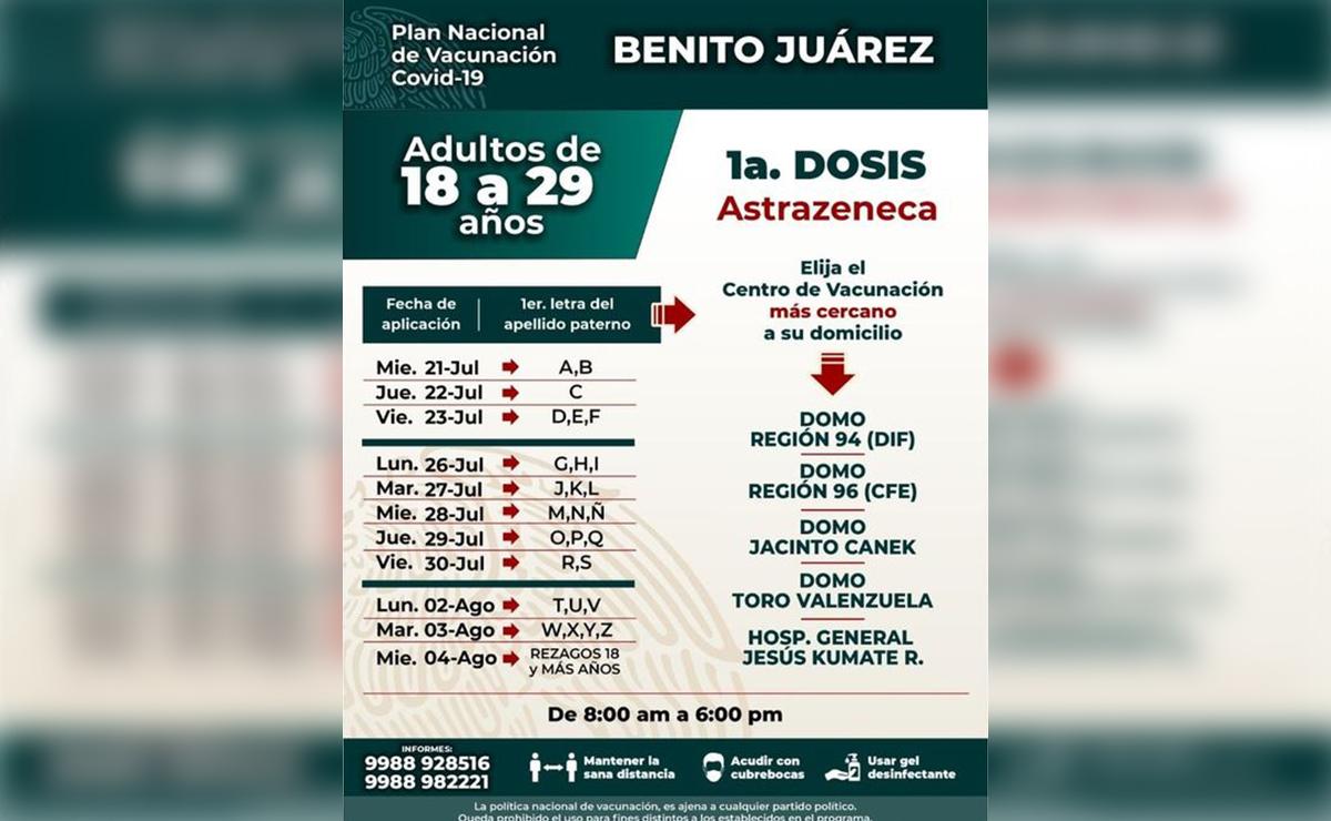 Iniciará mañana en Quintana Roo vacunación covid para mayores de 18 años