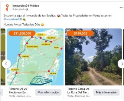 Ofrecen en venta terrenos por donde 'pasaría' el Tren Maya.