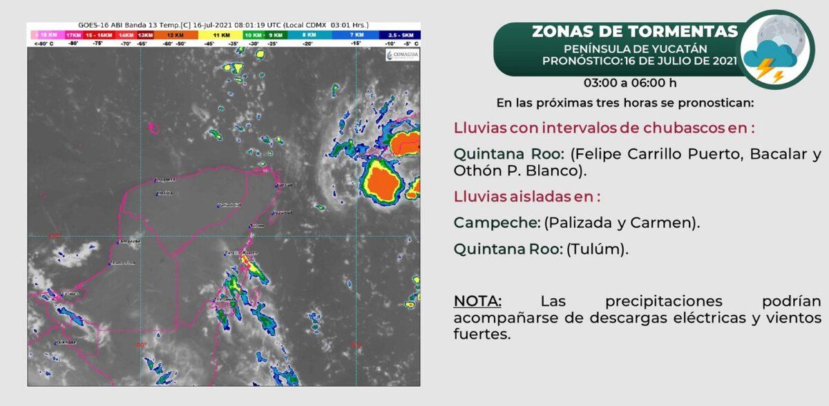 Pronóstico del clima para hoy viernes 16 de julio en Quintana Roo; se prevén algunos chubascos por la tarde y tormentas eléctricas.
