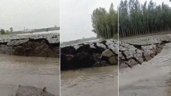 Un extraño fenómeno que fue captado en video se viraliza, se trata de un pedazo de tierra sumergido en agua que se eleva repentinamente