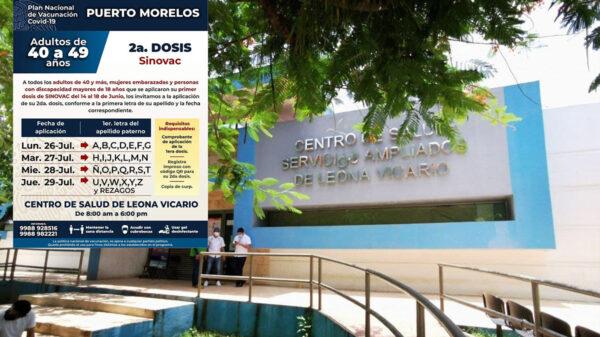 Aplicarán segunda dosis de vacuna covid a cuarentañeros en Puerto Morelos