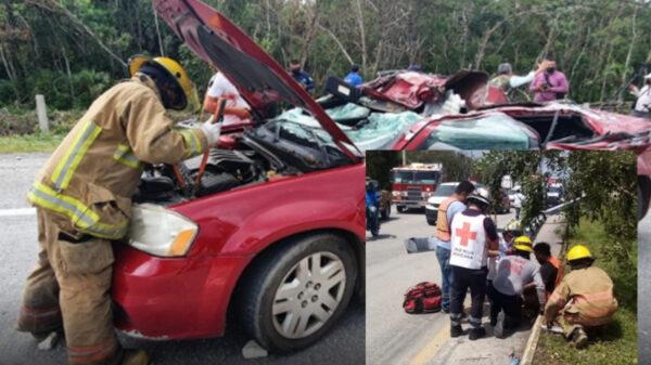 Carreterazo en vía a Tulum genera lesionados