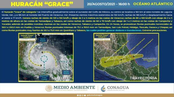 Temen veracruzanos que Grace impacte como huracán categoría 2