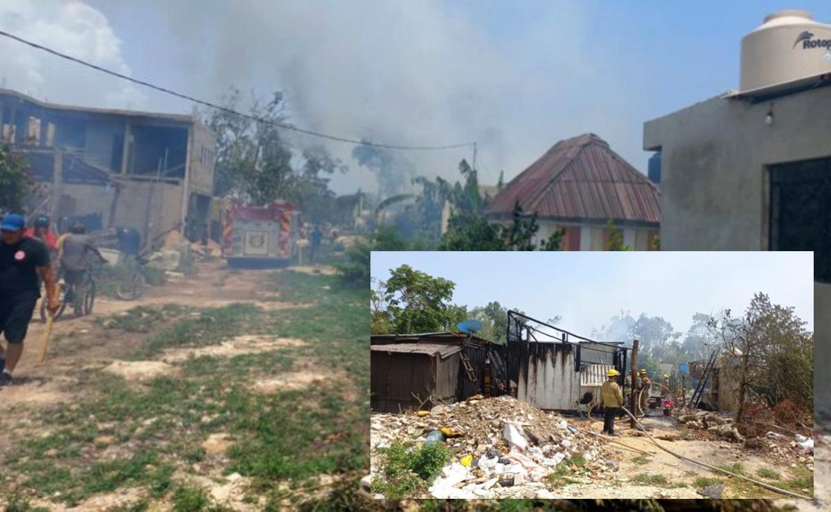 Incendio arrasa viviendas en invasión de Tulum