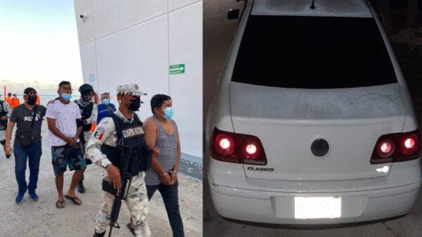Dos detenidos en carro con reporte de robo y en posesión de drogas.