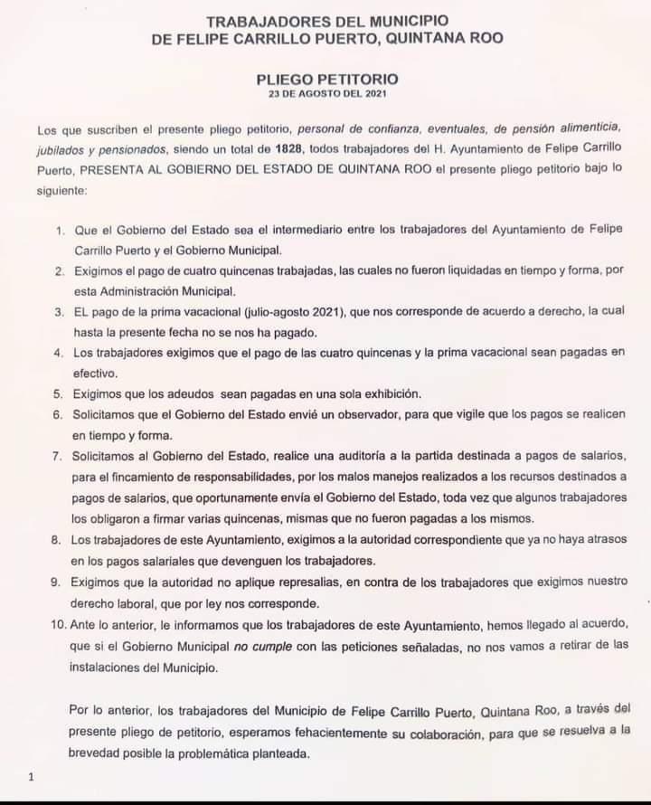 FCP: Trabajadores en paro exigen auditoria al edil José Esquivel; En un pliego petitorio piden la intervención del Gobierno del Estado.