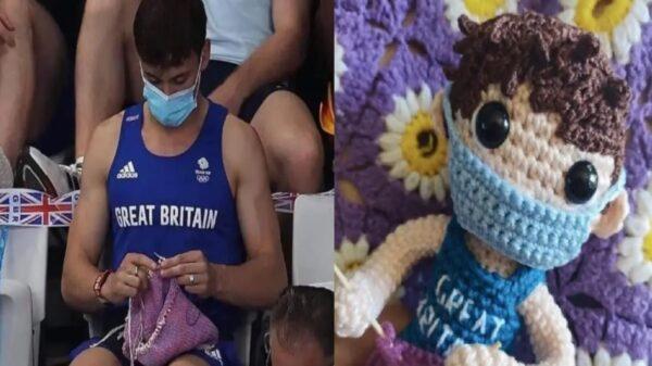 Luego de que el atleta Tom Daley se viralizará tejiendo un suéter para sus perritos, una joven morelense, elaboró un muñeco en su honor