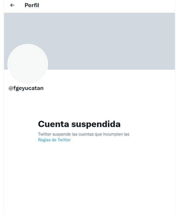 Fue bloqueada la cuenta de Twitter de la Fiscalía de Yucatán; hasta el momento la dependencia no se ha pronunciado al respecto.