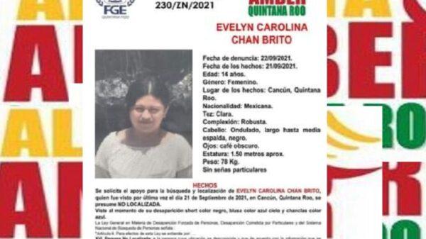 Activan Alerta Amber para localizar a Evelyn Carolina Chan Brito