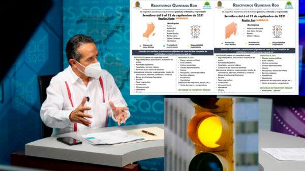 Anticipa gobernador de Quintana Roo regreso a semáforo amarillo