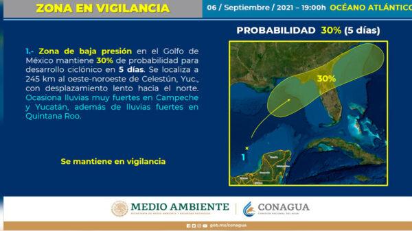 Seguirán fuerte lluvias en Quintana Roo por zona de baja presión