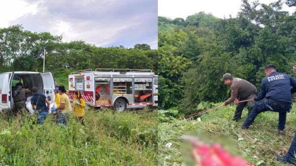 Cae camioneta en barranco en Veracruz; mueren cuatro cubanos