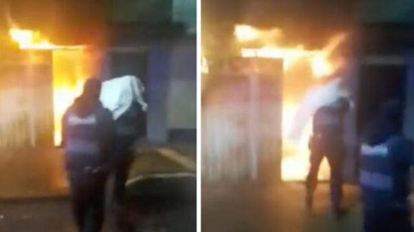 Policías rescatan a abuelitos de incendio en Ciudad de México