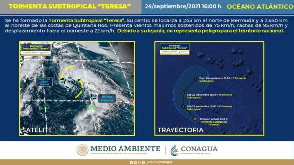 """Una mas, se Forma la Tormenta Subtropical """"Teresa"""" en el Atlántico"""
