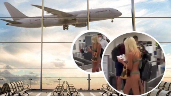 ¿Se equivocó de lugar? Mujer pasea en traje de baño en aeropuerto