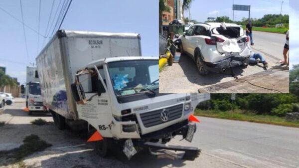 Carambola en Playa Del Carmen deja cuantiosos daños materiales