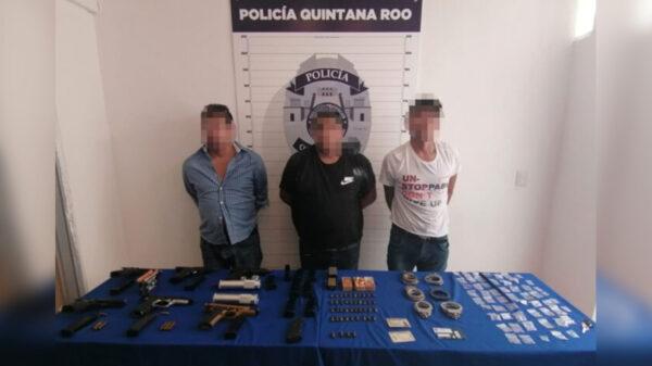 Cancún: Capturan a trio de pistoleros en hotel de zona de playas