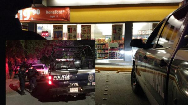 Cancún: Asaltan y roban arma a policía en tienda de conveniencia