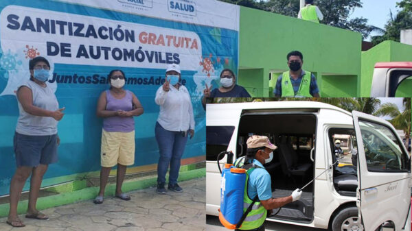 Organiza gobierno de Puerto Morelos nueva jornada de sanitización vehicular