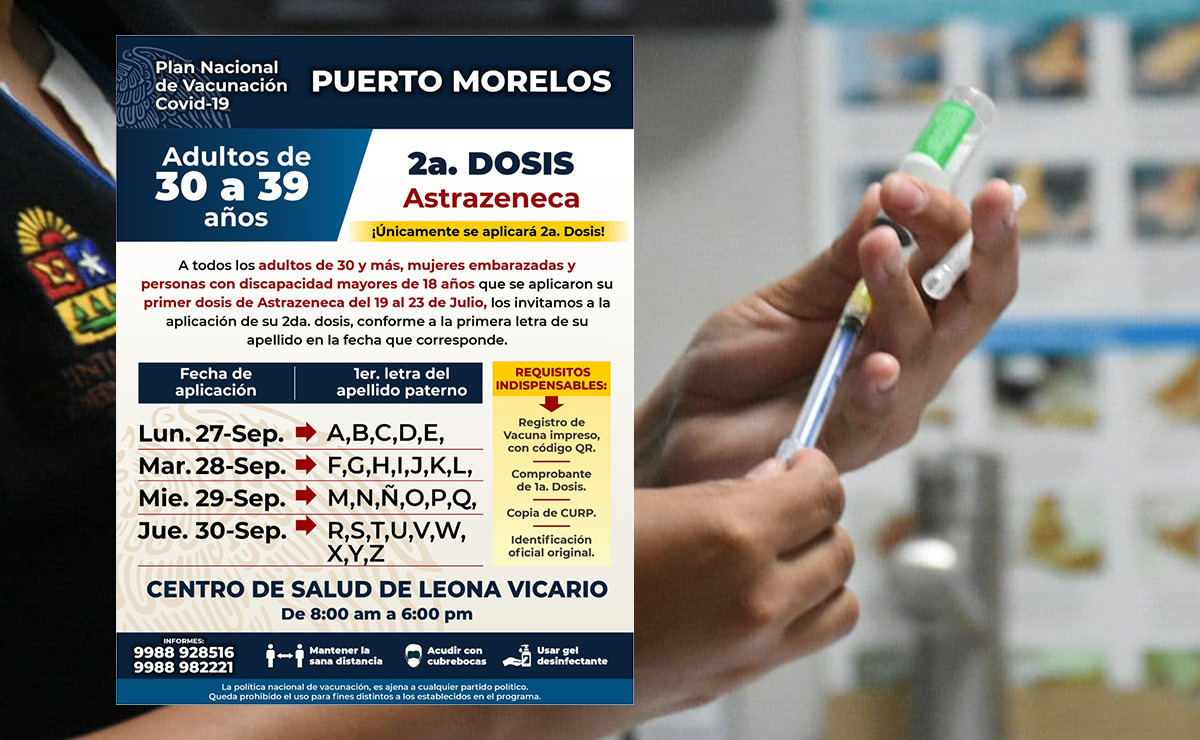 Invita gobierno de Puerto Morelos a treintañeros a recibir segunda dosis de vacuna contra el covid-19