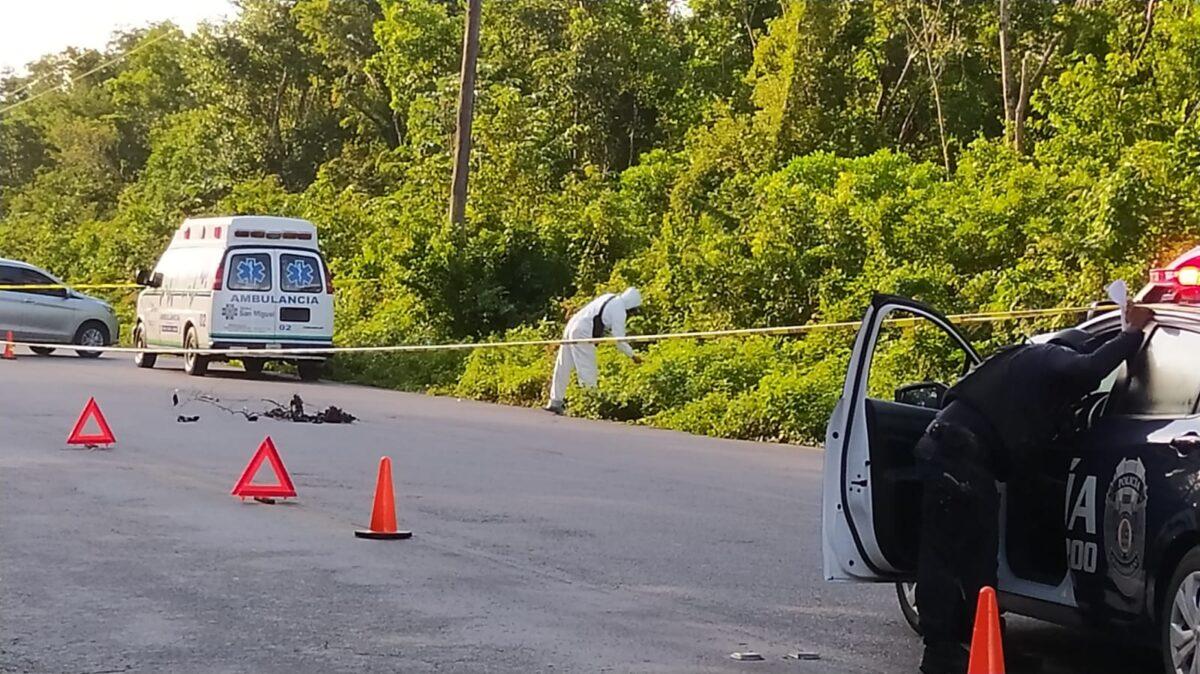 Descubren un ejecutado sobre la carretera transversal de Cozumel