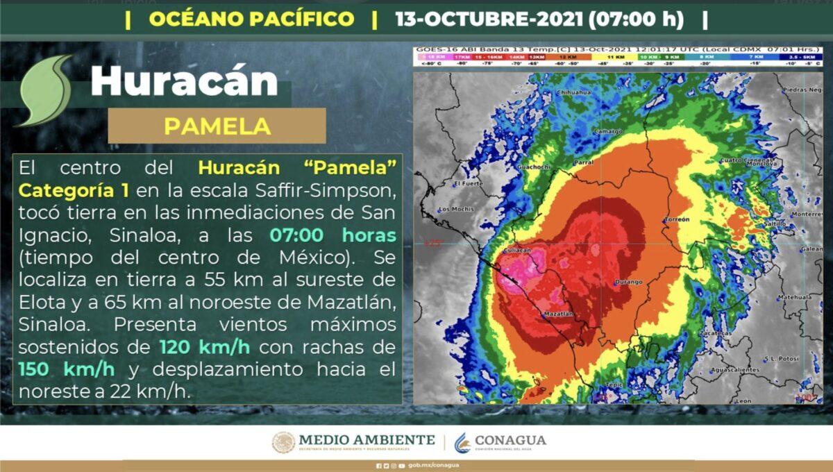 Huracán 'Pamela' tocó tierra en las inmediaciones del municipio de San Ignacio, Sinaloa; prevalecerán vientos con rachas de 120 a 150 km/h.