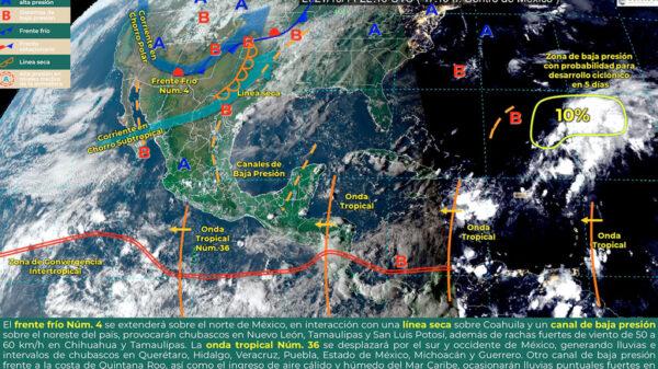 ¡Aguas! Se esperan fuertes lluvias para 7 estados por Frente Frío número 4