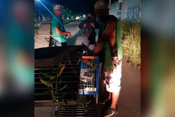 Cancún: Sorprenden a dos sujetos robando rejillas de alcantarillas.